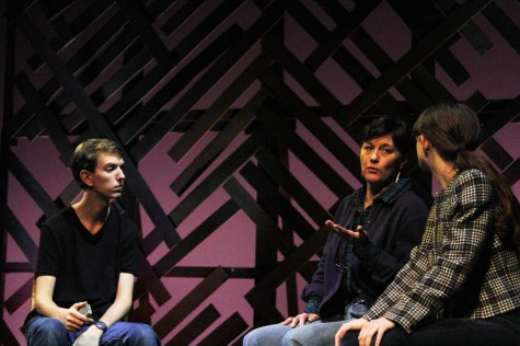 TAylor Kesicki, Mary Rotella and Gaela LaPasta share a dialogue in The Laramie Project, playing Friday and Saturday nights, (Oct. 24 & 25) at 7 pm.