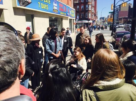 The Gowanus group gathered outside of the subway station to inform parents and CITYterm alumni on the tour about the important Gowanus Canal of the neighborhood.