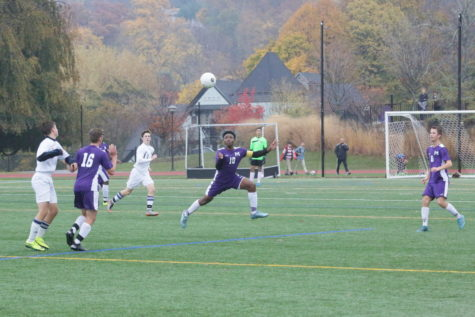 Senior Raji Ahamad gathers the ball in an attempt to start an offensive attack. Masters won the semi-final game 3-2, with an impressive comeback, against Rye Country Day School.