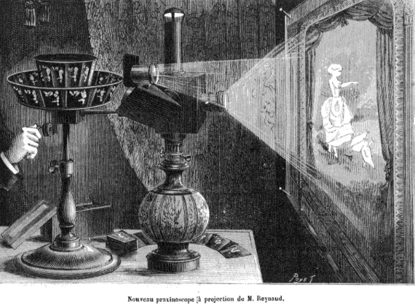 Louis Poyet, Émile Reynaud's projection praxinoscope for Nature, a science journal, 1882