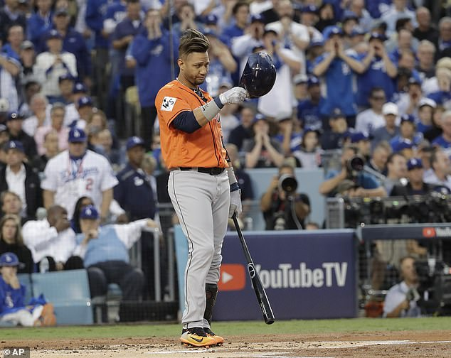 Houston+Astros%27+Yuli+Gurriel+tips+his+hat+as+he+gestures+to+Los+Angeles+Dodgers+starting+pitcher+Yu+Darvish+during+the+first+inning+of+Game+7+of+baseball%27s+World+Series+Wednesday%2C+Nov.+1%2C+2017%2C+in+Los+Angeles.+%28AP+Photo%2FDavid+J.+Phillip%29
