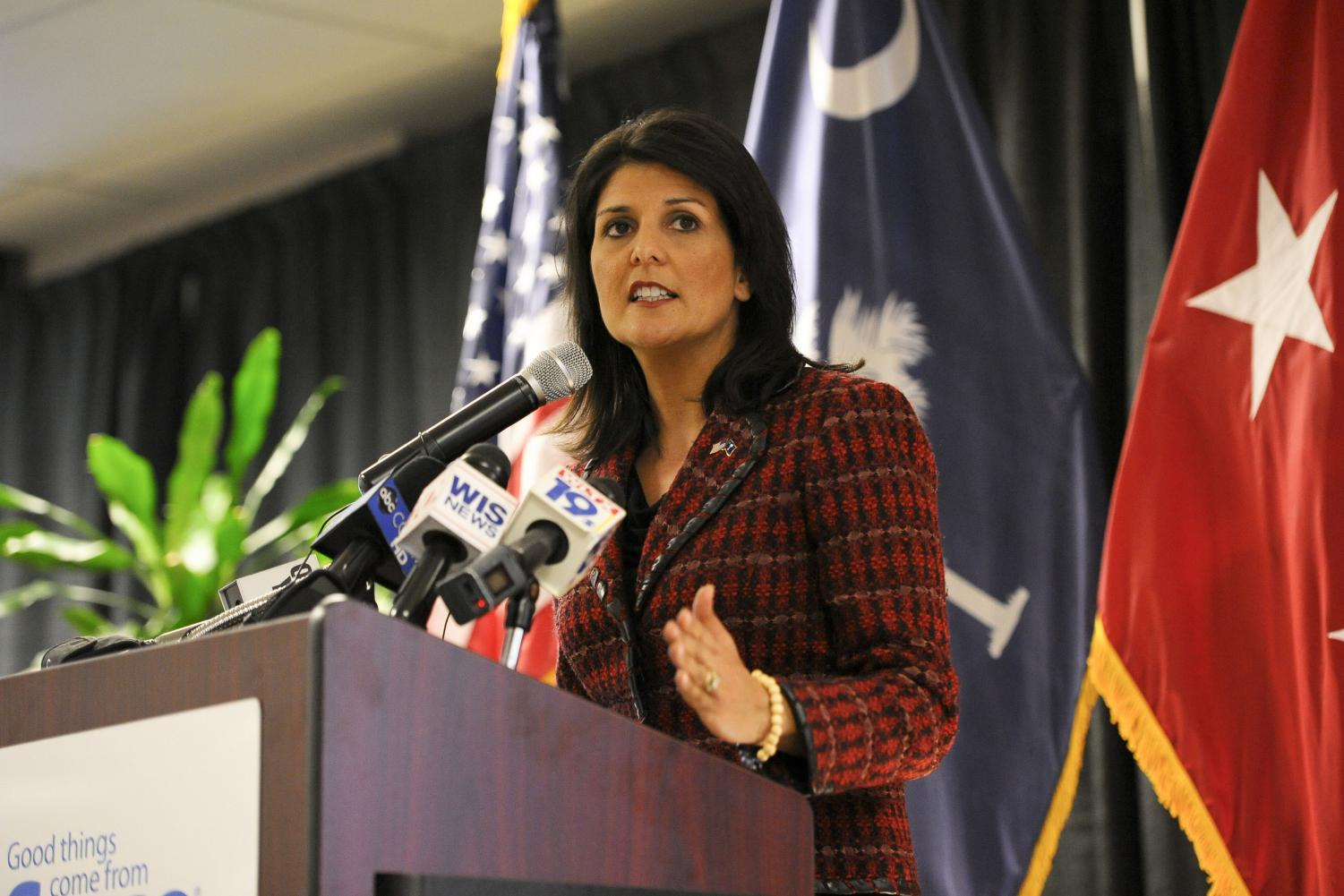 Nikki Haley (above) speaking at a conference. She is set to step down from her position as the United States Ambassador to the United Nations at the end of this year.