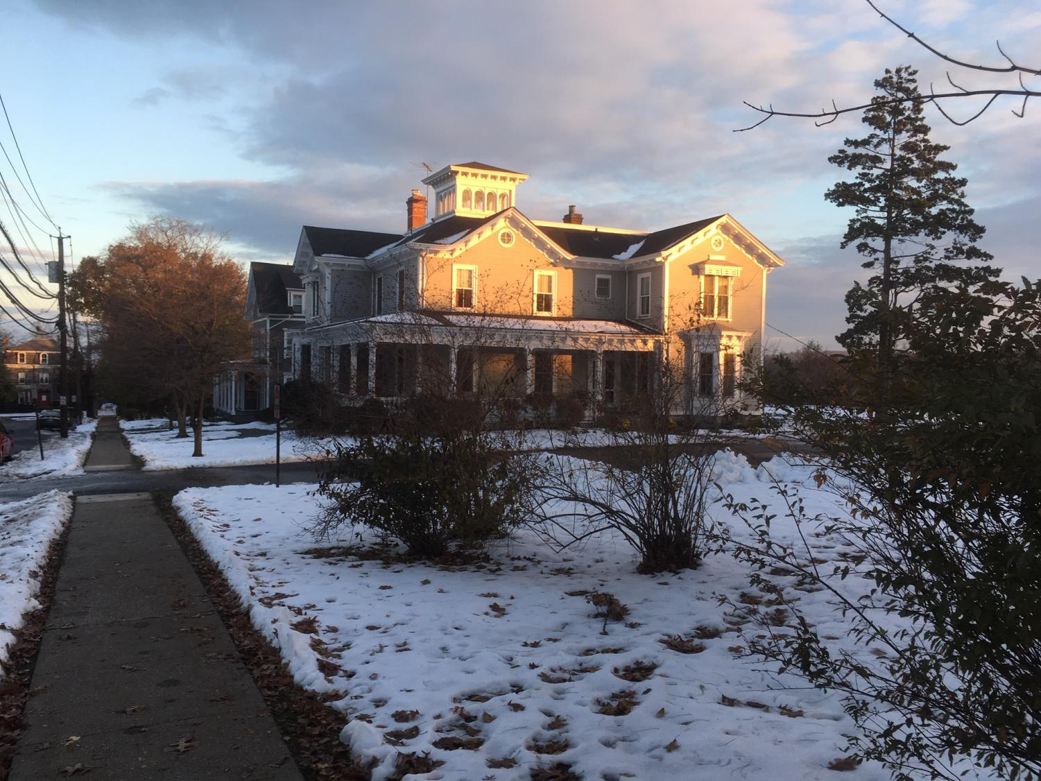 The sun rises on Park Cottage on the morning after Winter Storm Avery.