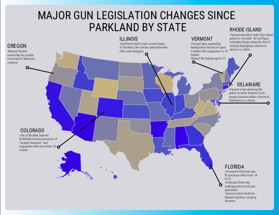 A state-by-state look at gun legislation change since the MSD shooting.