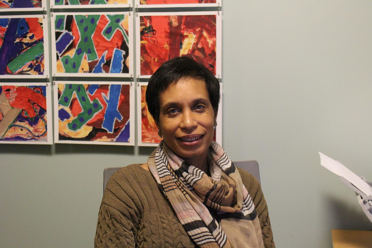Karen Brown, Director of Diversity, Equity, and Inclusion at The Masters School, sitting  for an interview in her office.