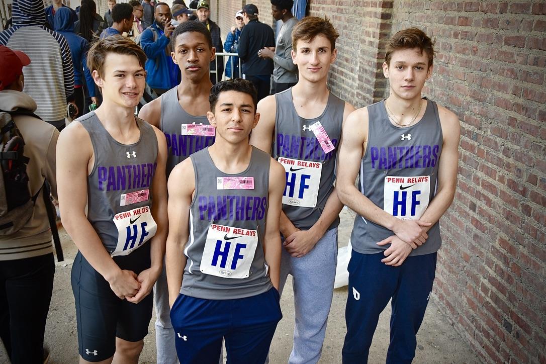 The delegation of five runners at the Penn Relays from left to right: Dorian Gilmartin, Judah Francella, Daniel Medina, Luke Ferrando, Vittorio Stropoli.