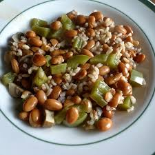 A bean dish that was served at a school for meatless Monday.