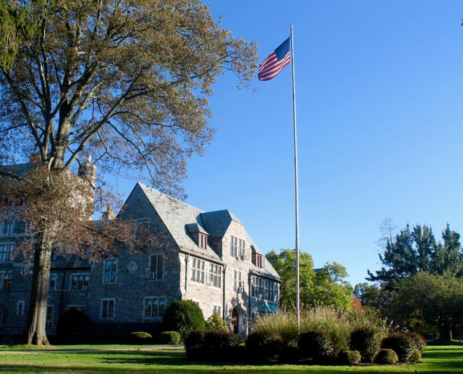 The+American+flag+flies+high+outside+Masters+Hall+on+a+cloudy+September+afternoon.+The+Buildings+and+Grounds+Department+is+responsible+for+the+maintenance+of+all+flags+flown+on+campus.