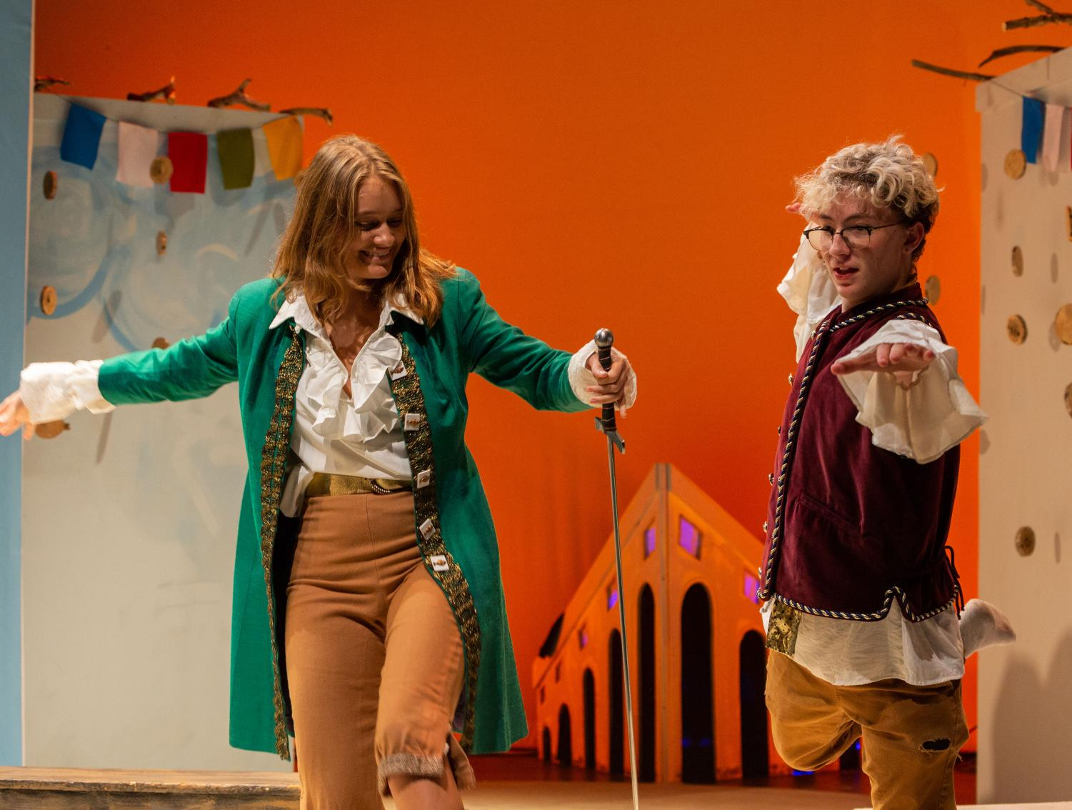 Senior Olivia Knowles (left) and Sophomore Ryan Israel (right) rehearse for the Oct. 25 production of Shakespeare's