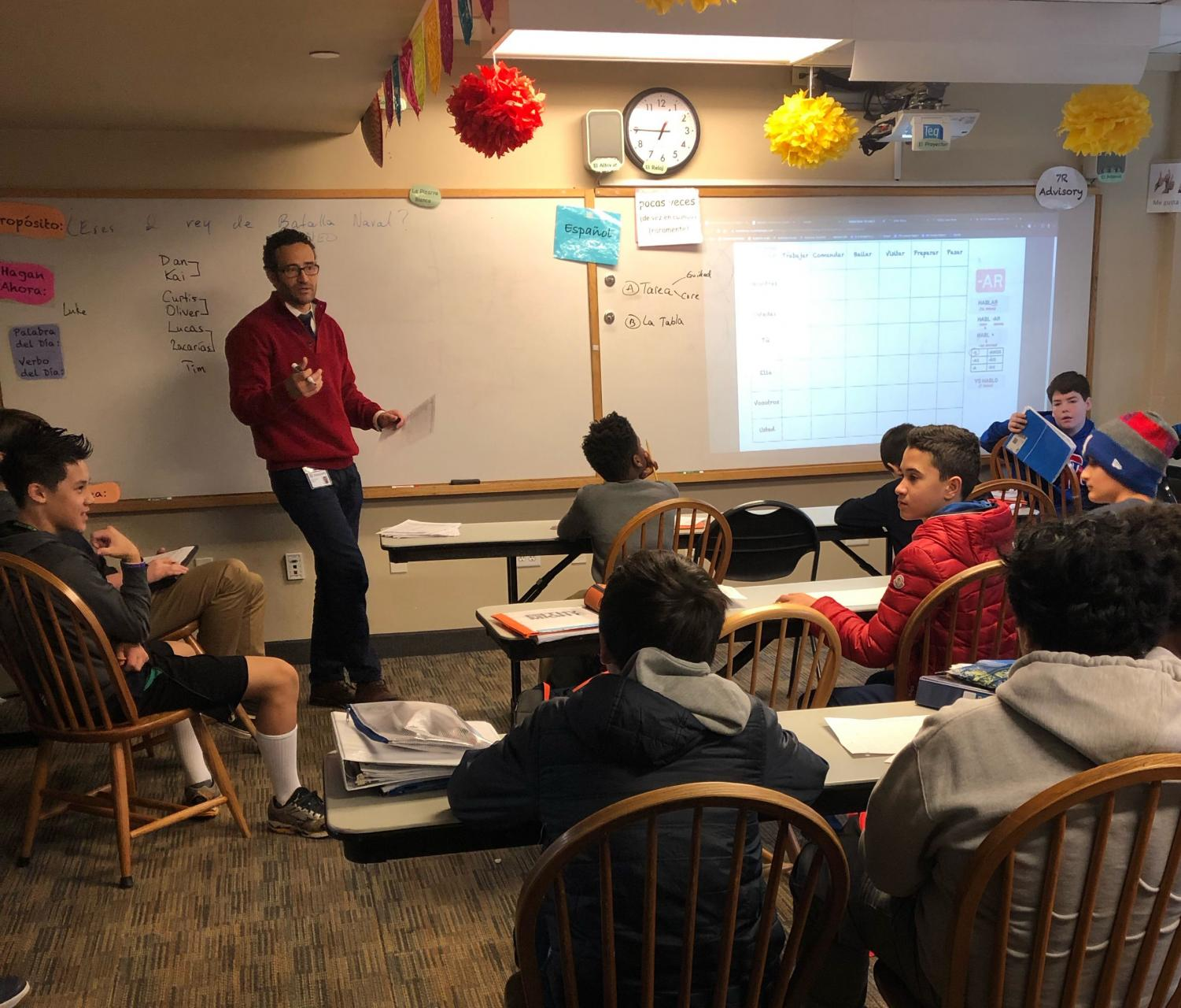 Middle school Spanish teacher Glenn Rodriguez lectures his all-boys seventh grade Spanish class. The class is a part of the gender-separate class system in the middle school.
