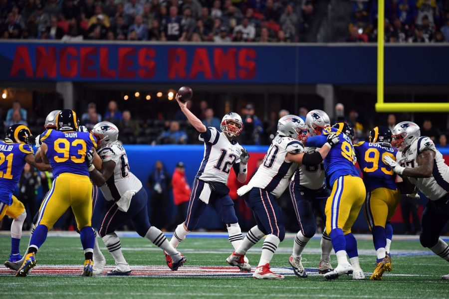 New England Patriots Quarterback Tom Brady throws a pass in Super Bowl LIII. The Patriots emerged victorious by a score of 13-3 over the opposing Los Angeles Rams. This will be first Super Bowl in four years that will not include New England.