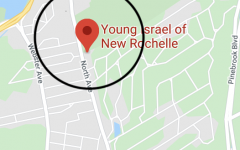 A google map image of New Rochelle, including the one-mile containment zone around Temple Young Israel of New Rochelle where Coronavirus transmission was at its highest in the area.