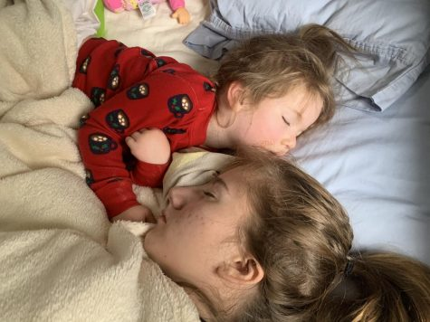 If Stone's free periods line up with her sister's nap time, she will usually join her for the nap.