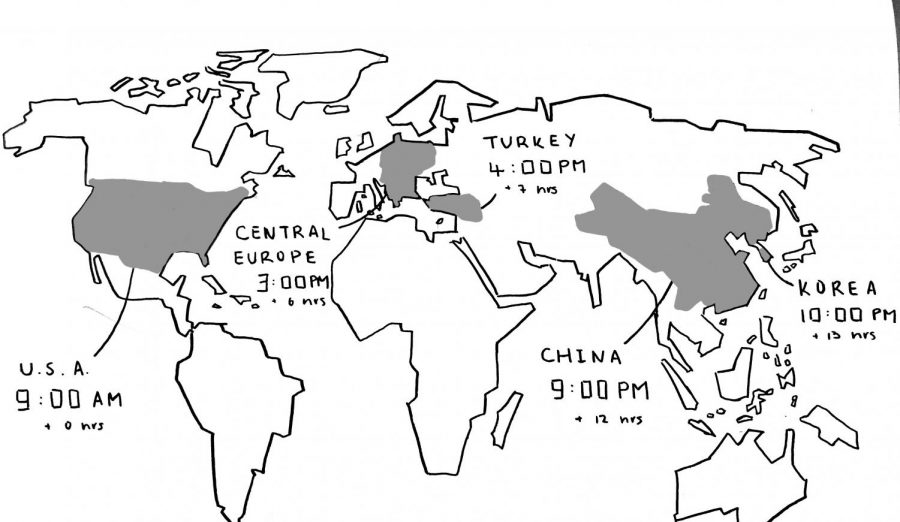 A map of the world shows the variances in time zones across the areas where Masters students are residing during the COVID-19 pandemic.