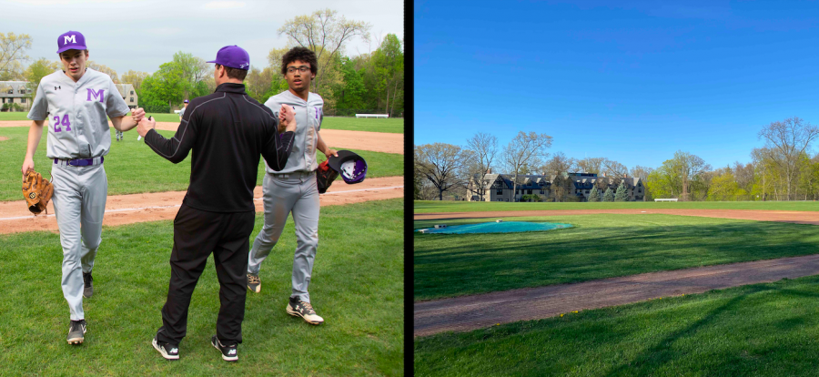 (Left) A couple senior players jog off the field in a baseball game against Hackley during the 2019 spring season. (Right) The baseball field lies fallow after the cancellation of the spring season. Governor Cuomo officially decided today to keep all New York schools closed for the rest of the year, meaning all high school athletics are concluded for the remainder of the school year.