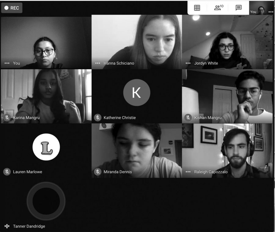 The+yearbook+staff+gathers+for+a+virtual+meeting+via+zoom.+This+year%2C+the+team+has+decided+to+upload+a+digital+version+of+the+yearbook+due+to+COVID-19+shifting+their+plans.