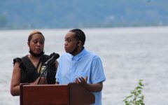 Leron Dugan '20 speaks at the Black Lives Matter rally at the Dobbs Ferry waterfront on June 4.