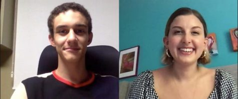 The elected co-chairs for the 2020-21 season, Caio Lanes and Sophia Viscarello, pose for a virtual picture.