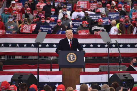 President Donald Trump addresses a crowd of thousands of supporters at a Make America Great Again Rally on Oct. 31. The stop in Reading, Pennsylvania was one of four Trump made across the commonwealth on Saturday as he looks to make a final push for reelection. Tower