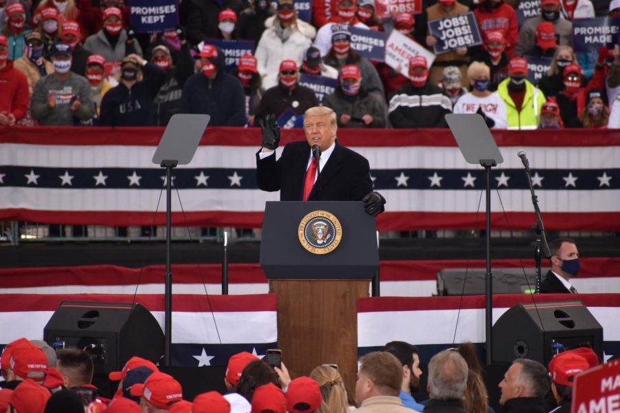 President Donald Trump speaks at a campaign rally in Reading, Pennsylvania on November 1. This was one of the many campaign rallies hosted in Pennsylvania, a state he said he would need to win to retain the presidency. For more coverage of this event, read Logan Schiciano's article on it here: https://tower.mastersny.org/6149/news/trump-supporters-praise-president-downplay-virus-at-rally-days-before-election/