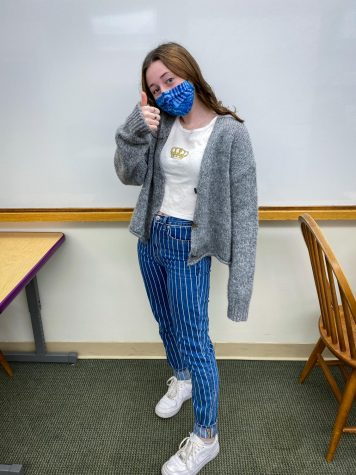 Junior Annie Fabian sports an all-thrifted outfit, sporting clothes she purchased online or traded for.