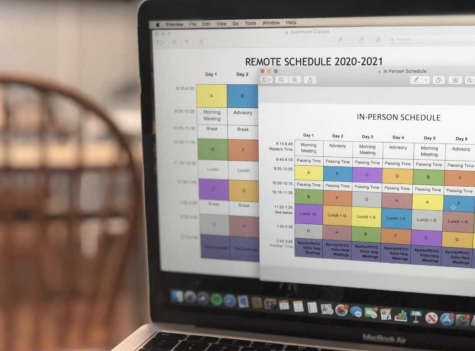 A computer juxtaposes the 2020 - 2021 remote schedule with the new remote schedule.