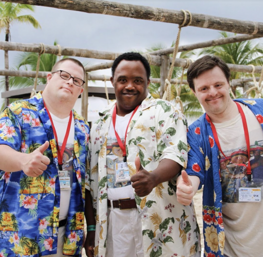 Yanvi Gorodischer, Raymond Frost and Jason Kingsley (left to right) are pictured on a Buddy Cruise, a nonprofit organization advocating for individuals with special needs and and their families. Yaniv, Raymond and Jason have lived together for almost 19 years.