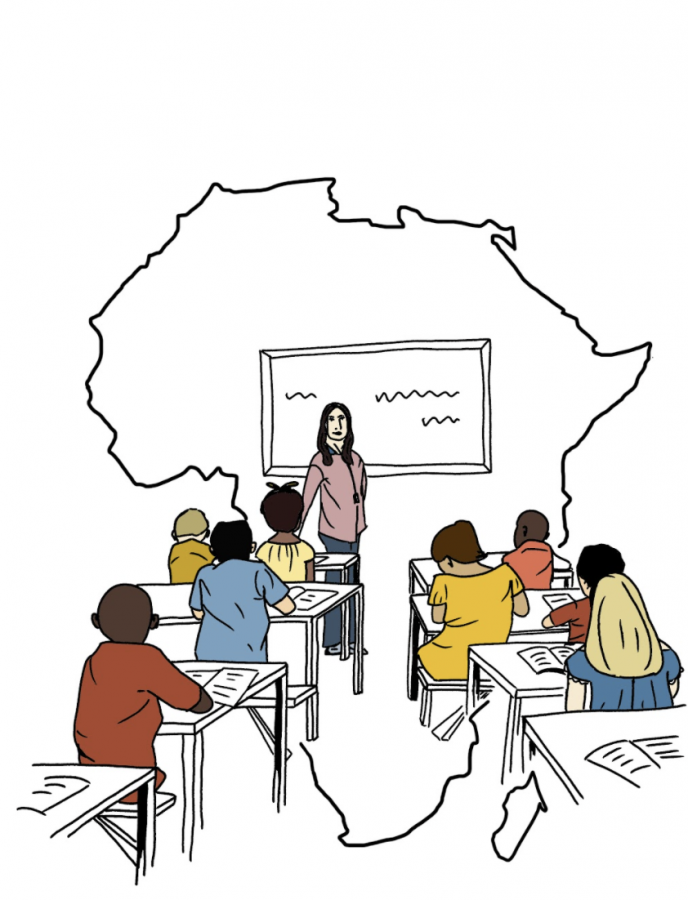 Students+learn+African+history+in+front+of+an+outline+of+the+continent+of+Africa.+