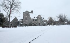 A snowy front of Masters Hall on Thursday, Feb. 18.