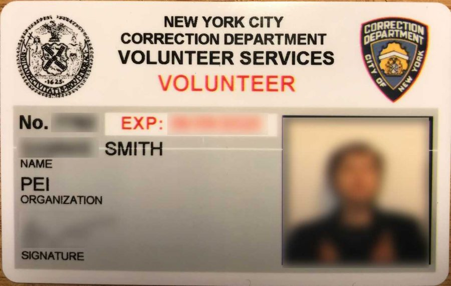 Smith's ID card to enter Rikers Correctional Facility. Smith has taught at the women's prison at Rikers, called Rosie's, since 2017 before the pandemic shut her classes down in March of last year.