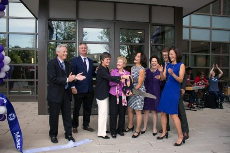Pictured at the ribbon cutting ceremony for the opening of the Fonseca Center in 2015 are Tim Kane, Jonathan Clay P'19, Head of School Laura Danforth, Diana Davis Spencer '56, P'84, former Head of School Maureen Fonseca, Lynn Pilzer Sobel '71, P'99, '05, Chief Financial Officer Ed Biddle, and former Head of the Board of Trustees Tracy Tang Limpe '80, P'18. The Diana Davis Spencer Foundation donated $10 million to the construction of the Fonseca Center.