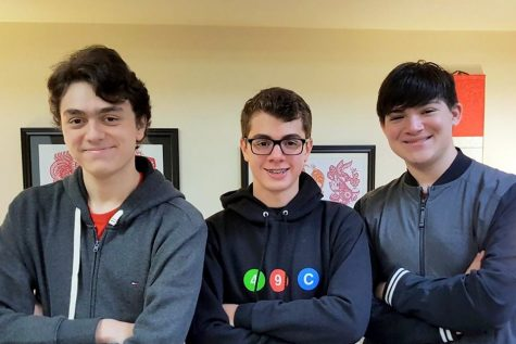 Senior captains of the cybersecurity team Brandon Zazza, Matt Napp, and Zach Battleman (left to right) stand together for a photo taken in Jan. 2020. The team has seen national success at cybersecurity competitions recently.