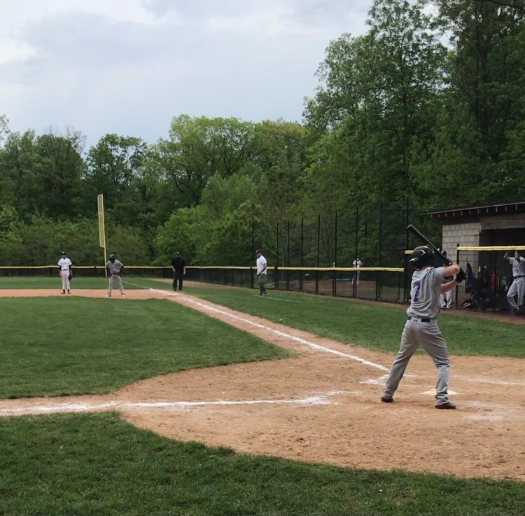 Senior center fielder Nick Albani stands in the batters box during the sixth inning of Masters season opener at Hackley. The Panthers dropped the contest to the Hornets, by a score of 11-6 in seven innings.