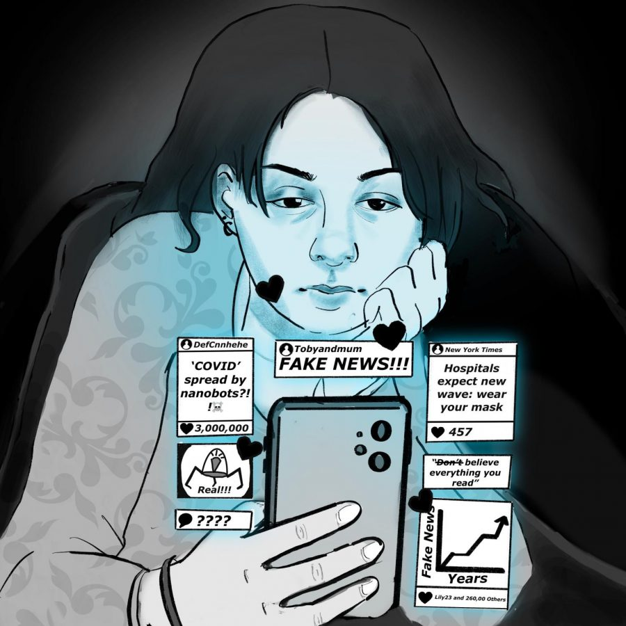 While scrolling through social media, a teenager is grappling understanding what information to believe in a world of media bias. (Phoebe Radke/Illustrator)